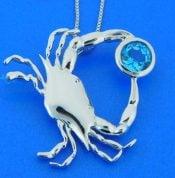 penny james blue crab pendant, sterlin, blue topaz