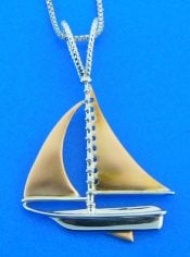 penny james sailboat pendant, 14k sterling silver