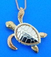 penny james sea turtle pendant 2-tone 14kr & sterling