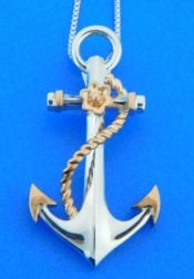 PENNY JAMES ANCHOR PENDANT, 14K ROSE & STERLING SILVER