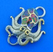 octopus bracelet top, opal. sterling silver