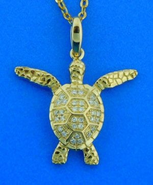 Alamea Diamond Sea Turtle Pendant, 14K Yellow Gold