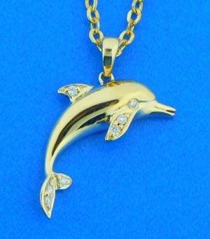 alamea dolphin diamond pendant, 14k