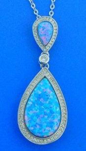 Alamea Tear Drop Opal & CZ Pendant, Sterling Silver