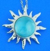 Alamea Sun Pendant, Larimar & Sterling Silver