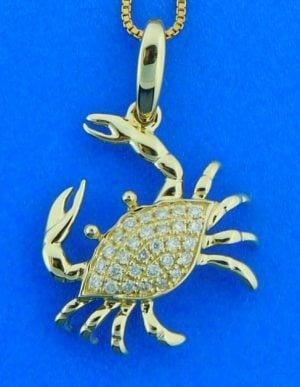 Alamea Blue Crab Diamond Pendant, 14K Yellow Gold