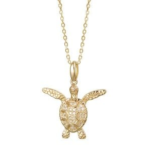 Alamea Diamond Sea Turtle Pendant, 14K Yellow Gold