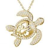 alamea sea turtle gold plate pendant