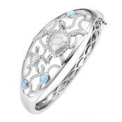 alamea sea turtle bangle bracelet, sterling silver