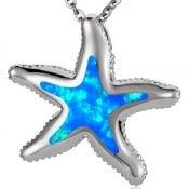 starfish opal pendant, sterling