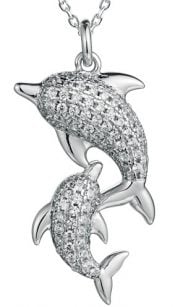 cz double dolphin pendant, sterling