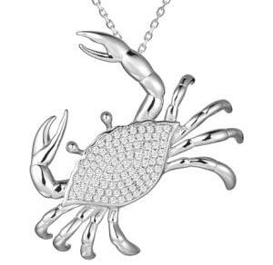 alamea blue crab cz pendant, sterling