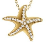 starfish yellow gold plated sterling pendant