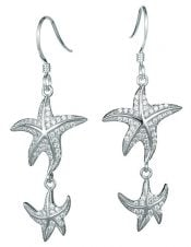 starfish dangle earrings, sterling