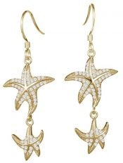 starfish gold plate earrings, sterling