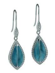 larimar maile leaf earrings, sterling