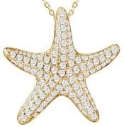starfish yellow gold plated pendant, sterling