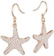 alamea rose gold starfish earrings, sterling