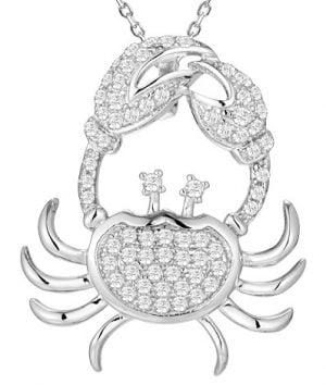 blue crab cz pendant, sterling