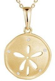 gold plared sanddollar pendant, sterling