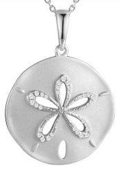 sanddollar cz pendant, sterling