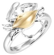 blue crab ring 2-tone, sterling 14k