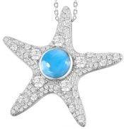 starfish cz larimar pendant, sterling