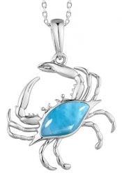 alamea blue crab larimar pendant, sterling