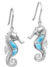 seahorse larimar earrings,sterling