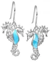 double seahorse larimar earrings, sterling