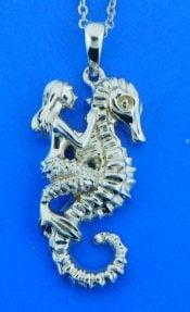 alamea mermaid seahorse pendant, sterling