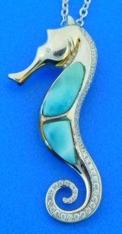 alamea seahorse larimar pendant, sterling silver