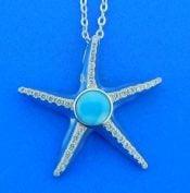 alamea starfish larimar cz pendant, sterling