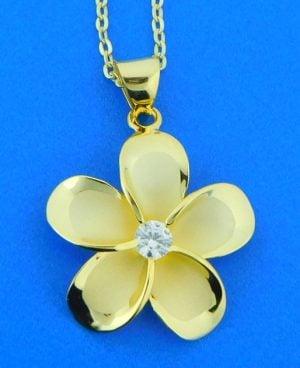 alamea plumeria gold plated pendant, sterling
