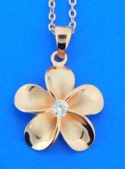 alamea plumeria rose gol plated pendant, sterling silver