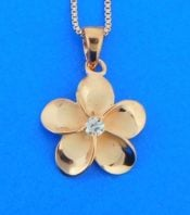 alamea rose gold plated sterling plumeria pendant