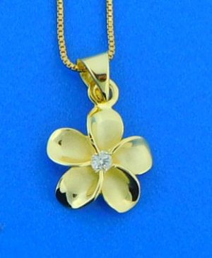 alamea yellow gold plated sterling plumeria pendant