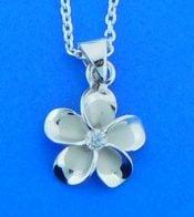 alamea sterling cz plumeria pendant
