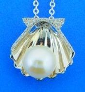 alamea shell pearl pendant,sterling
