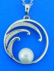 alamea sterling wave cz pendant