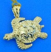 sea turtle 14k diamond cut pendant
