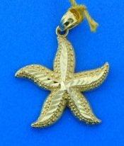 starfish diamond cut pendant, 14k