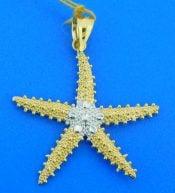 2-tone starfish pendant,14k