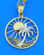 palm tree sun wave pendant. 14k