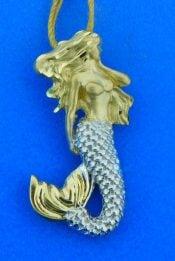 mermaid pendant 2-tone 14k
