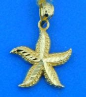 starfish pendant,14k