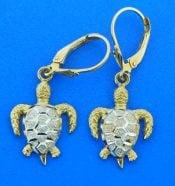 2-tone seaturtle dangle earrings 14k