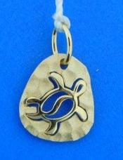 denny wong hammered sea turtle pendant, 14k