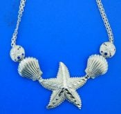 sealife necklace starfish, sterling