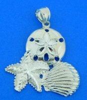 sand dollar, starfish, shell pendant, sterling